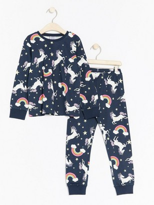 Mønstret pyjamassett Blå
