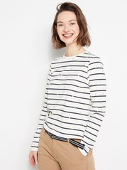Striped and Dotted Top in Lyocell Blend White