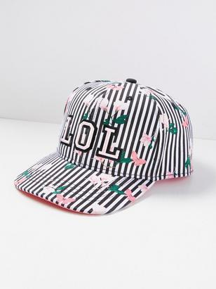 Patterned Cap with Embroidery Black