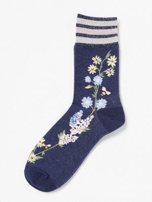 Floral Socks with Glitter Hem Blue