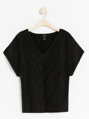 Pleated V-neck Top  Black