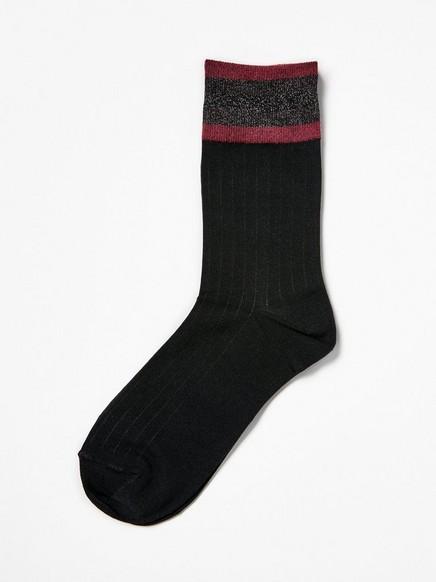 Sokker med strikkede lurexmansjetter Svart