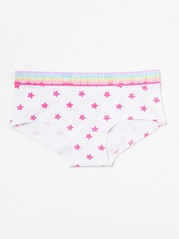 Briefs with striped elastic and print White