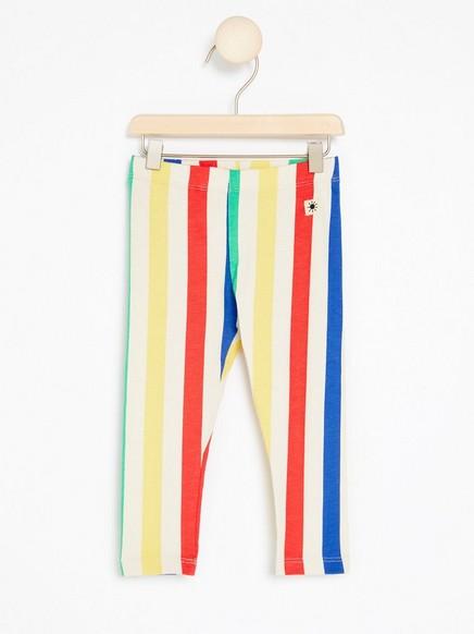 Flerfarget, stripet leggings Beige