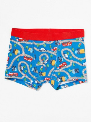Boxer Shorts with Taffic Pattern Blue