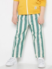 Striped Woven Trousers Beige