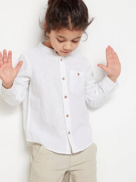 Skjorte uten krage Hvit