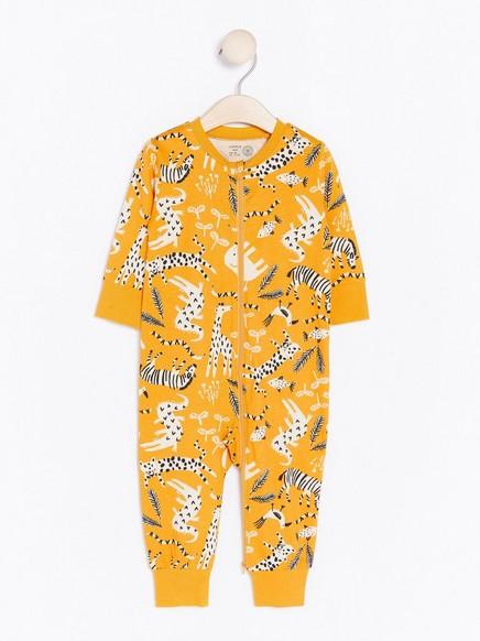 Pyjamas med dyremønster Gul