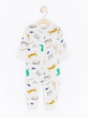 Pyjamas with Animal Pattern White
