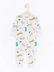 Pyjama, jossa eläinkuviointi Valkoinen