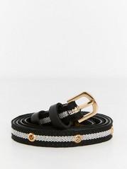 Slim Black and White Belt  Black