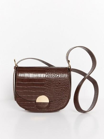 Croco Patterned Shoulder Bag  Brown