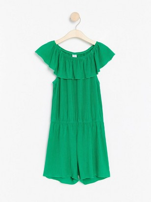 Pleated jumpsuit with shoulder flounce Green