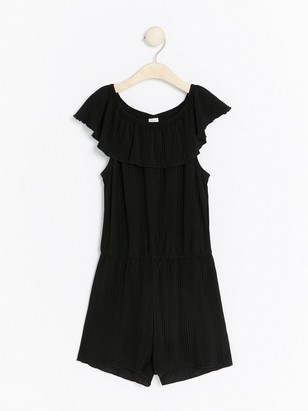 Pleated jumpsuit with shoulder flounce Black