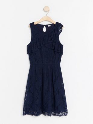 Spetsklänning med volang Blå