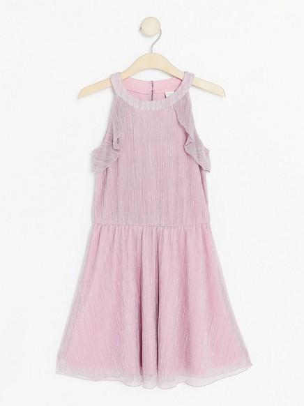 Laskostettu vaaleanpunainen mekko Vaaleanpunainen