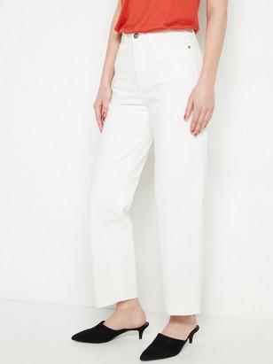 Bílé džíny svysokým pasem Bílá