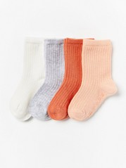 4-pack Ribbed Socks Orange