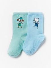 2-pack Socks with Antislip Blue