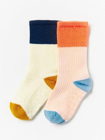 2-pakning med ribbestrikkede sokker Beige