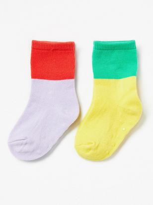 2-pack Socks with Colour Blocks Green