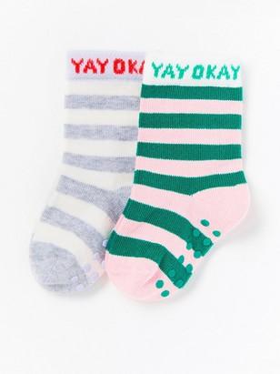Sada 2párů pruhovaných ponožek Šedivá