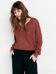 Knitted V-neck Sweater  Pink