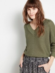 Knitted V-neck Sweater  Green