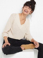 Knitted V-neck Sweater  Beige