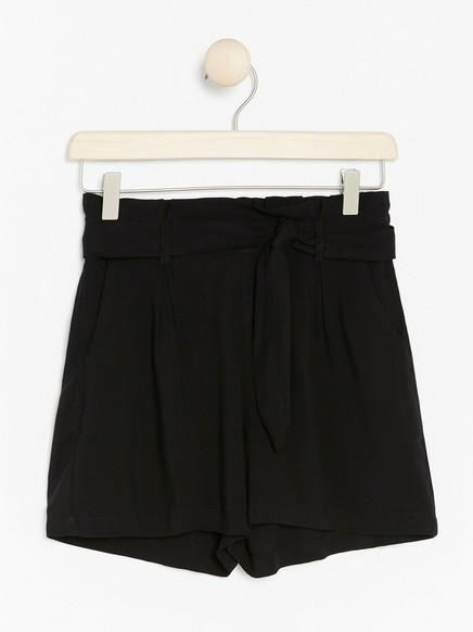 Paperbag-shorts Svart