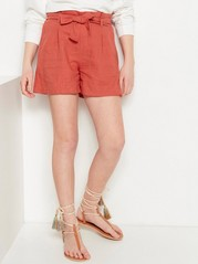 Shorts with paper bag waist Beige