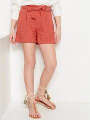 Shorts med paper bag-midja Beige