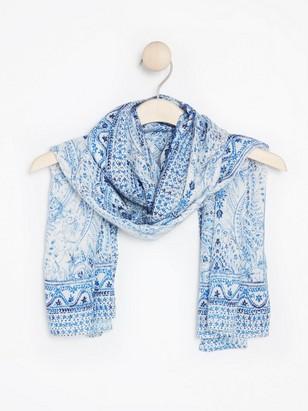 Sinivalkoinen paisley-kuvioitu huivi Valkoinen