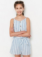 Striped Cotton Jumpsuit White
