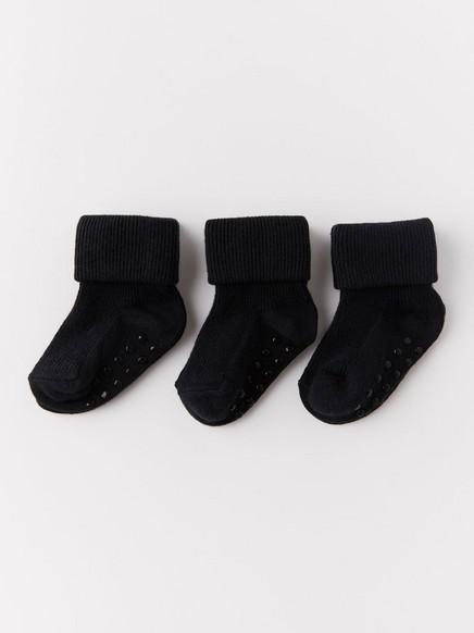 3-pakning med sokker med ribbestrikk Svart