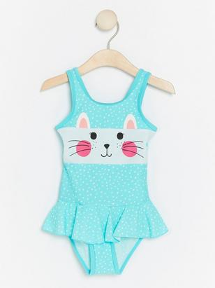Dotted Swimsuit with Cat Turquoise