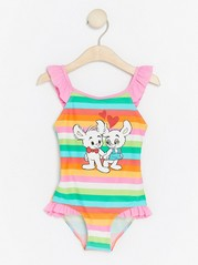 Striped Swimsuit with Bamse Pink