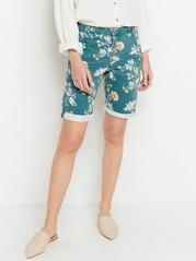 Mønstret shorts med knapper Blå