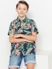 Green Patterned Short Sleeve Shirt Blue
