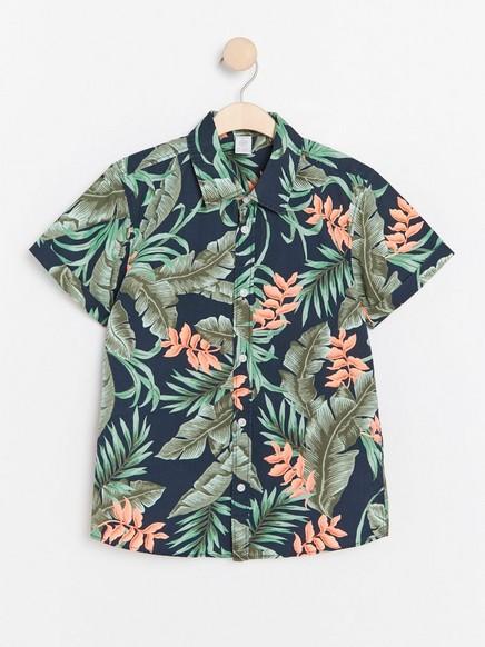 Grønn, mønstret, kortermet skjorte Blå