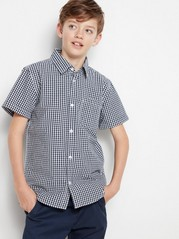 Checked Shirt with Short Sleeves Blue