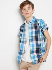 Checked Shirt with Short Sleeves Turquoise