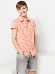 Patterned Shirt with Short Sleeves Orange