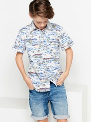 Patterned Shirt with Short Sleeves White