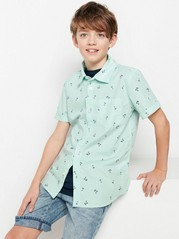 Patterned Shirt with Short Sleeves Green