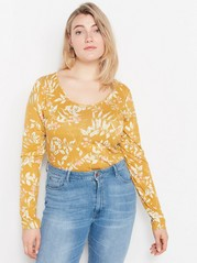 Long Sleeve Lyocell Blend Top  Yellow