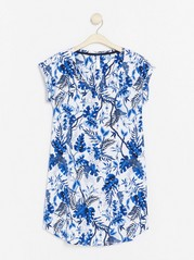 Květovaná noční košile Modrá