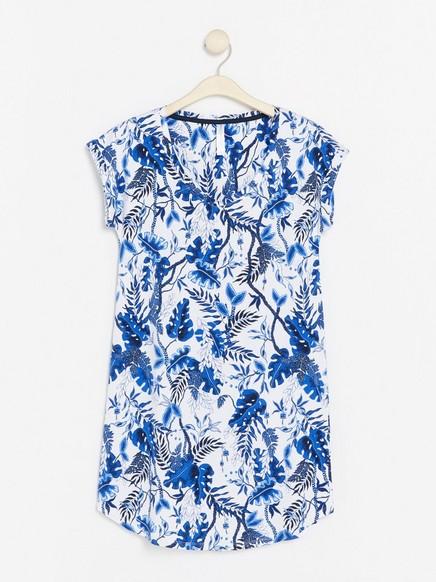 Kukkakuvioinen yöasu Sininen
