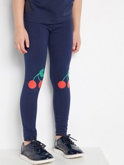 Leggings with Cherry Knee Patches Blue