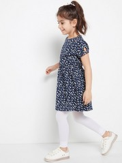 Floral Dress with Elasticated Waist Blue